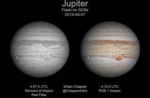 Véletlenül sikerült felvenni, ahogyan egy hatalmas meteor csapódik a Jupiterbe