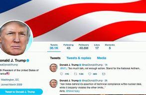 Trump hamis állításokat posztolt, ezért a Twitter figyelmeztetõ linket rakott két twitje mellé is