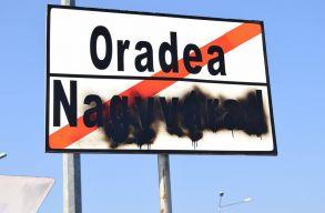 Lefújták a magyar feliratot az egyik nagyváradi helységnévtáblán
