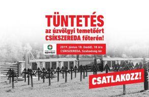 Csíkszeredában tüntetnek kedden az úzvölgyi temetõért