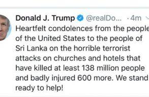 Trump 138 millió Srí Lanka-i áldozatról emlékezett meg a Twitteren