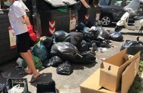 Pénzbüntetésre számíthat az a román nõ, aki Rómában összeszedte a szemetet