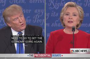 J�l �sszement Donald Trump �s Hillary Clinton az els� eln�kjel�lti vit�n